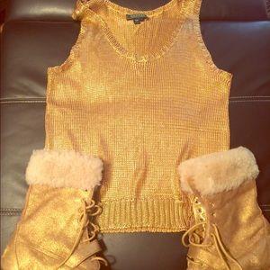 Lauren Ralph Lauren metallic gold sweater tank